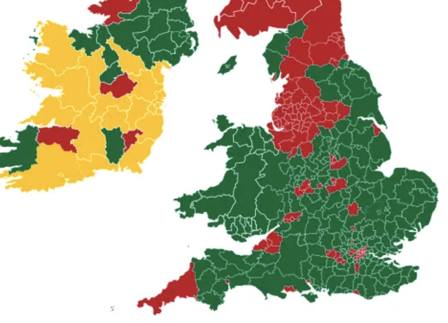 <p>Danger zones: the Government of Jersey map of high-risk (red) and low-risk (green) locations from 22 June</p>