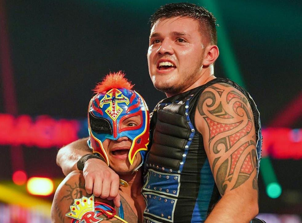 <p>WWE icon Rey Mysterio (left) with son Dominik</p>