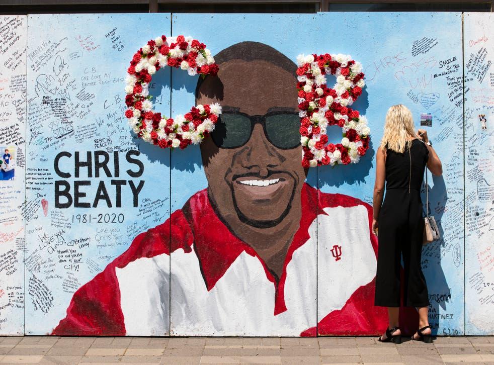 <p>A memorial wall for Chris Beaty</p>