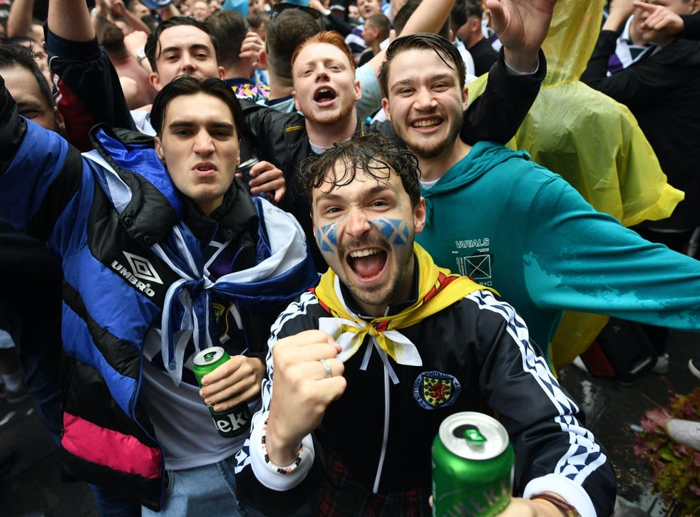 <p>Scotland fans party in Leicester Square </p>