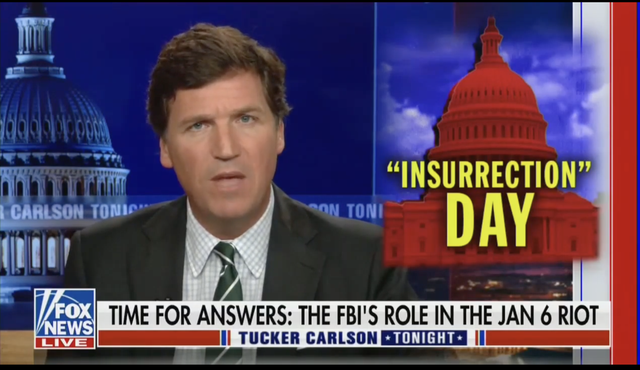 <p>Tucker Carlson is not backing down on baseless accusations that the FBI were involved in the 6 January attack on the Capitol</p>