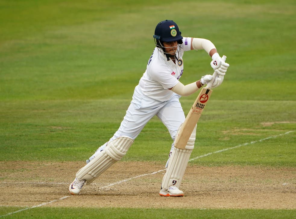 <p>Shafali Verma plays through the off side against England</p>