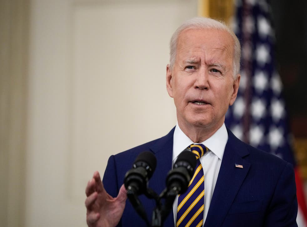 <p>President Joe Biden speaks about the nation's Covid-19 response and the vaccination program in the State Dining Room of the White House on 18 June, 2021 in Washington, DC. Mr Biden has named Christi Grimm as his pick to be permanent inspector general of the Department of Health and Human Services.</p>