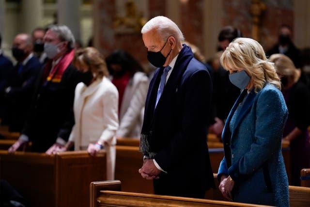 <p>Joe and Jill Biden attend church</p>