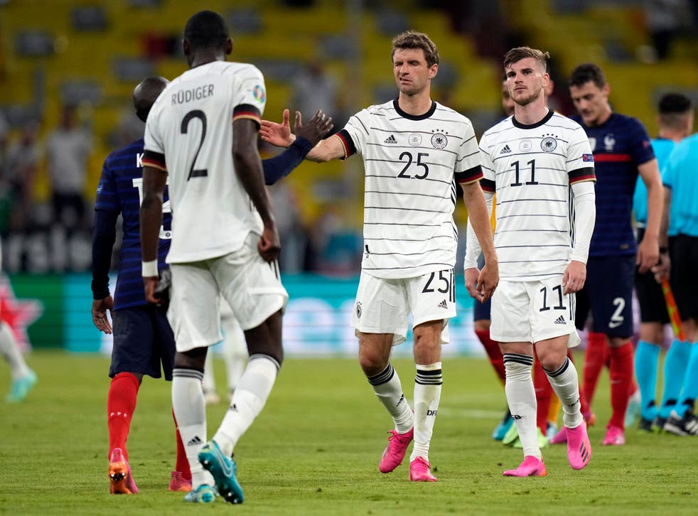 Dejected Germany players