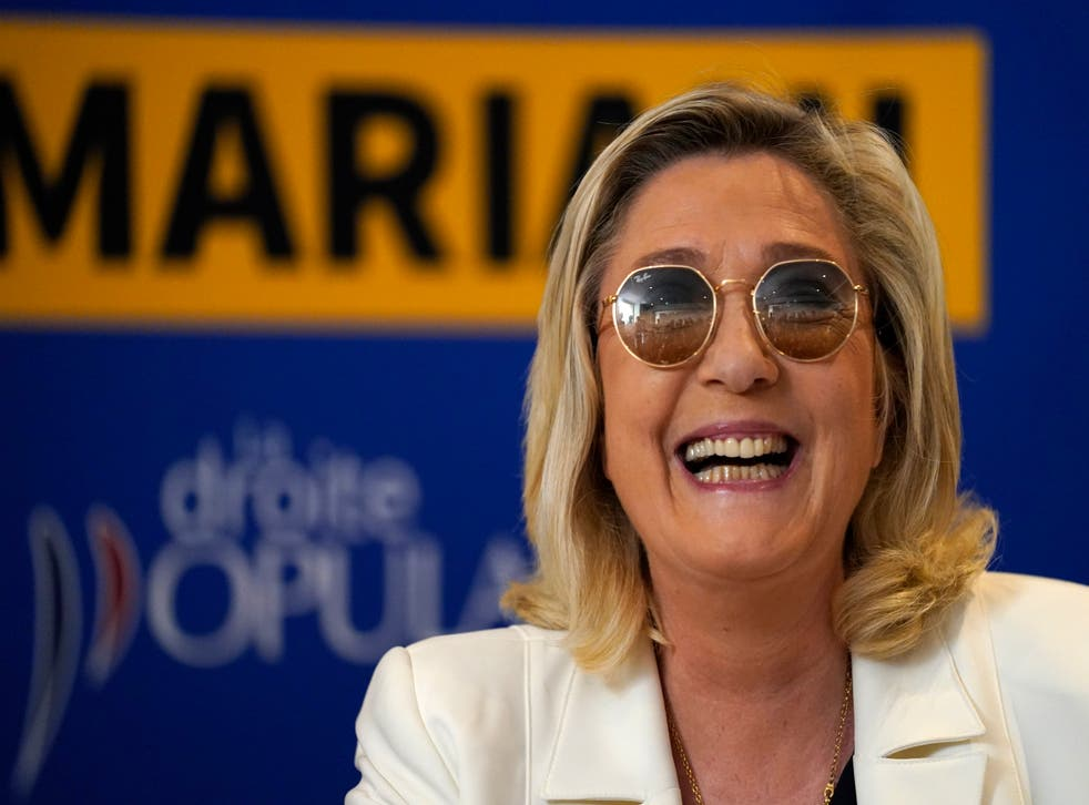 <p>Far-right leader Marine le Pen smiles during a press conference in Toulon, southern France</p>