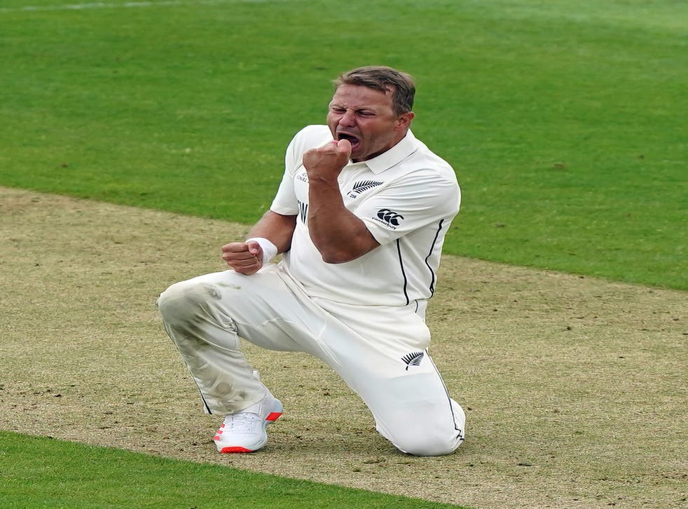 Neil Wagner celebrates taking the wicket of India's Shubman Gill