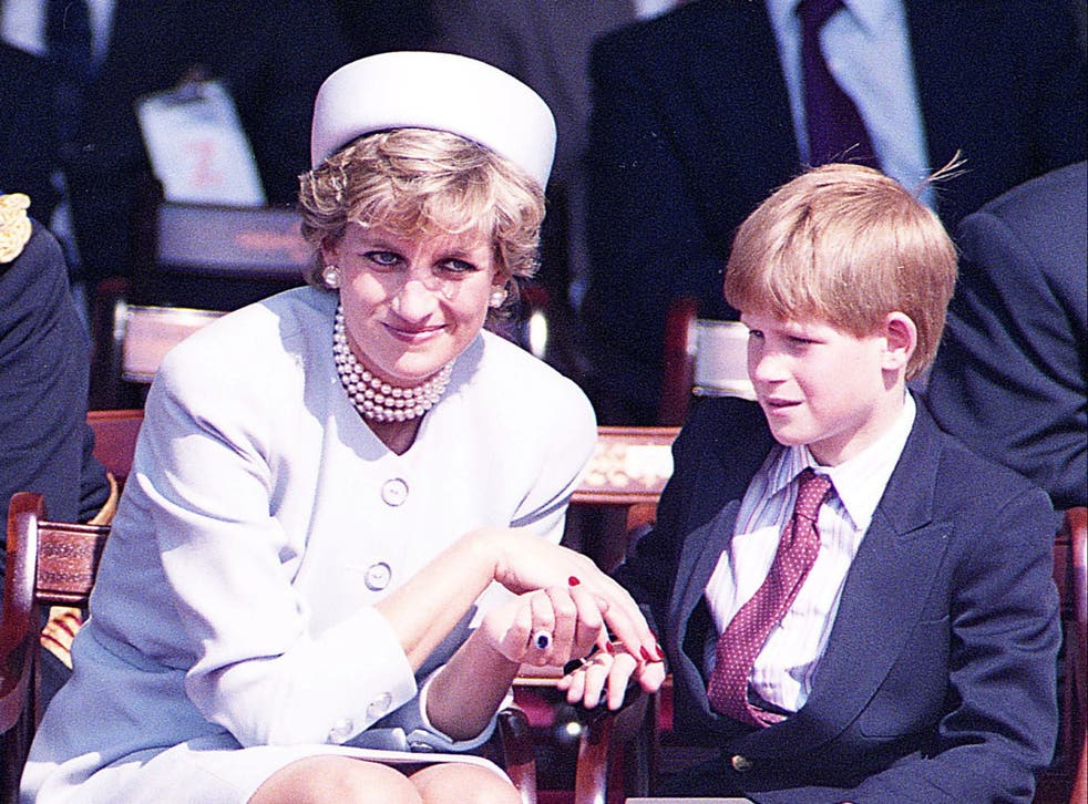 <p>Princess Diana and son Harry in Hyde Park, London, in May 1995</p>