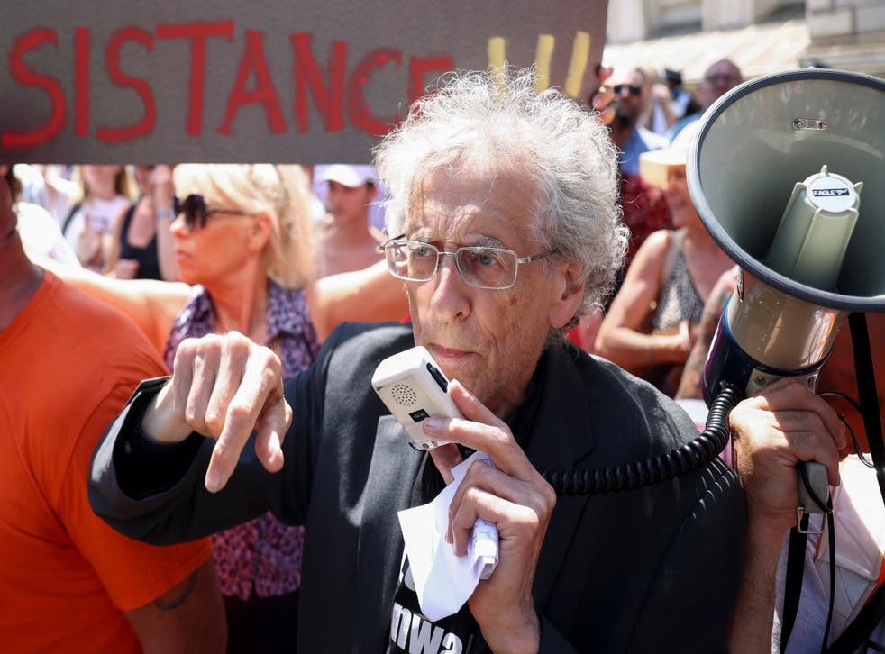 <p>Activist Piers Corbyn takes part in an anti-lockdown and anti-vaccine protest in Downing Street in June</p>