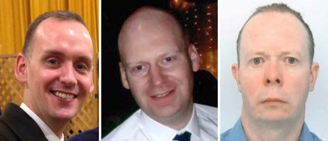 <p>Joe Ritchie-Bennett, James Furlong and David Wails, the three victims of the Reading terror attack</p>