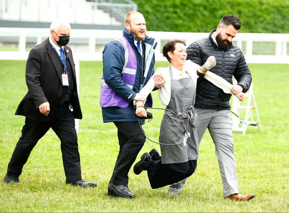 <p>An XR protestor is escorted from the racecourse during the races</p>