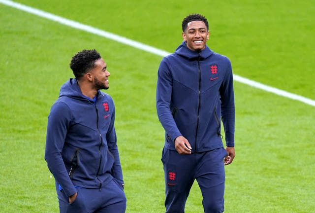 <p>Reece James, left, has become a big brother to 17-year-old Jude Bellingham</p>