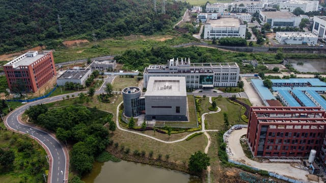 <p>This aerial view shows the P4 laboratory (C) on the campus of the Wuhan Institute of Virology in Wuhan in China's central Hubei province on May 27, 2020.</p>