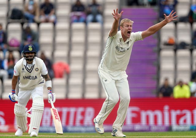 <p>New Zealand's Kyle Jamieson appeals for the wicket of India's Virat Kohli</p>