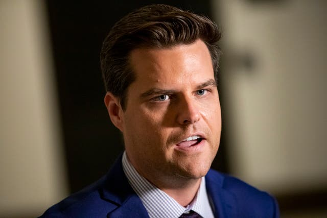<p>US Rep. Matt Gaetz (R-FL) speaks to the media outside of the Sensitive Compartmented Information Facility (SCIF) during the continued House impeachment inquiry against President Donald Trump at the US Capitol on 30 October, 2019, in Washington, DC</p>