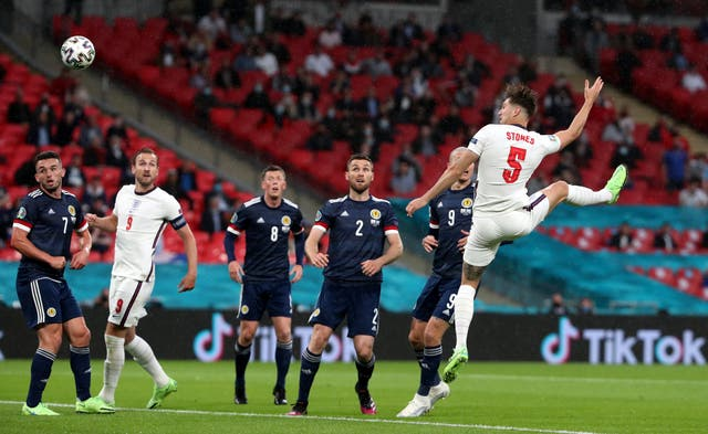 England defender John Stones, right, came closest to scoring against Scotland