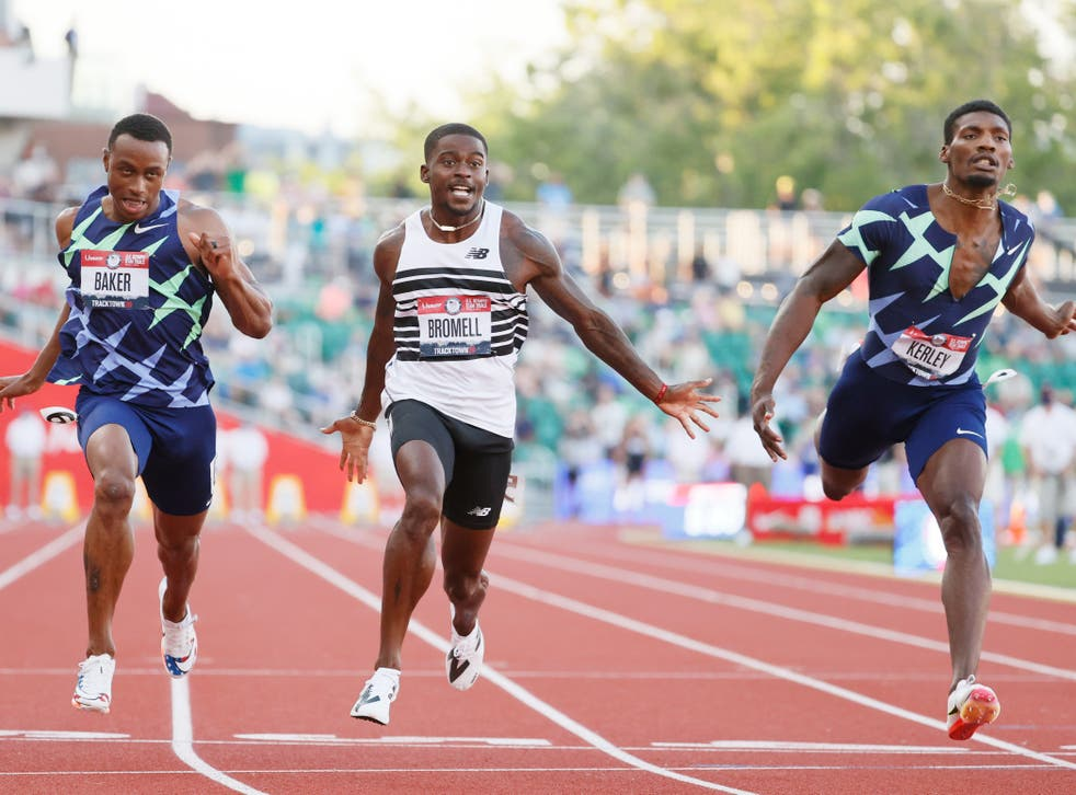<p>Trayvon Bromell, Ronnie Baker and Fred Kerley cross the finish line to secure a place at the Tokyo Olympics</p>