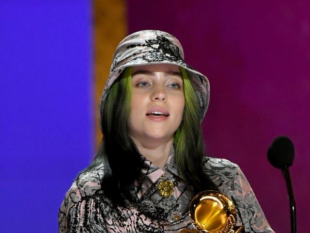 <p>Billie Eilish pictured at the 2021 Grammy Awards</p>