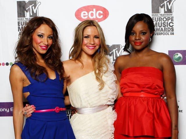<p>Amelle Berrabah, Heidi Range and Keisha Buchanan during the third incarnation of the Sugababes in 2008</p>