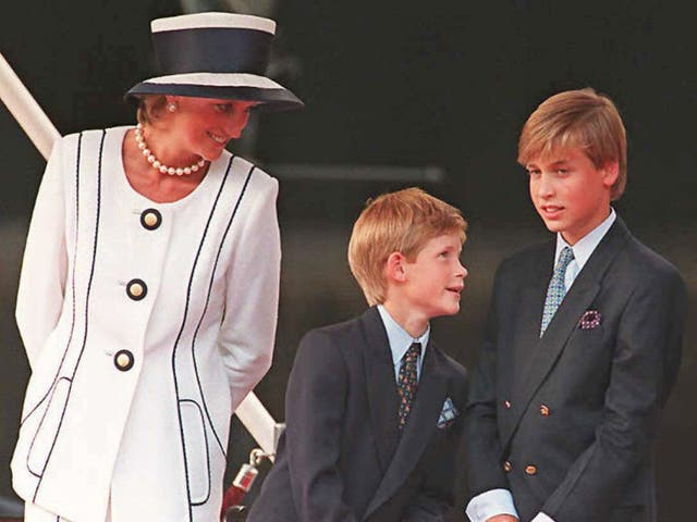 <p>Princess Diana (L), Prince Harry and Prince William (R) in 1995</p>