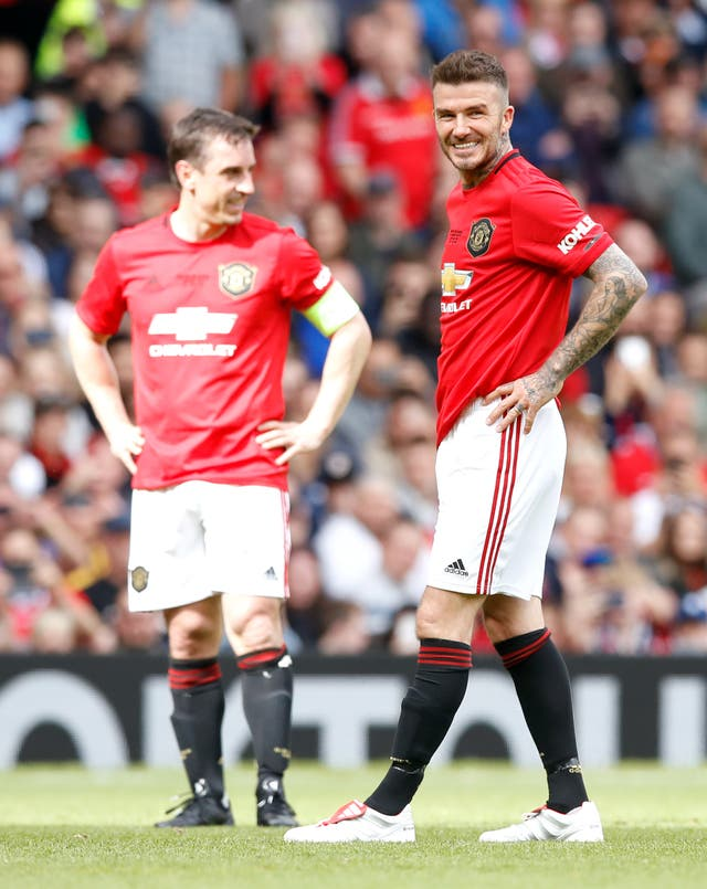 David Beckham, right, and Gary Neville took to social media on Tuesday