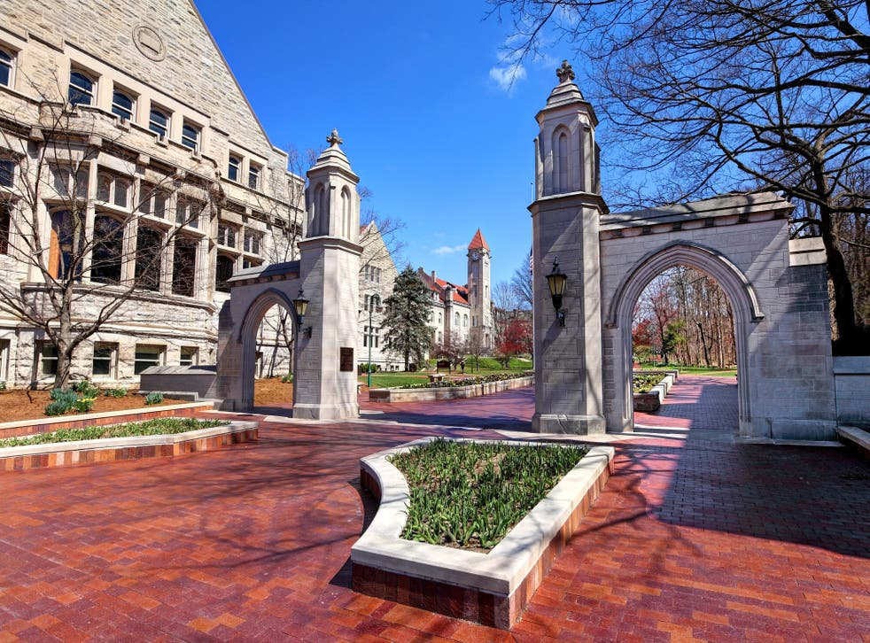 <p>Daytime view of the The Sample Gates, entrance to Indiana University from Kirkwood Ave</p>
