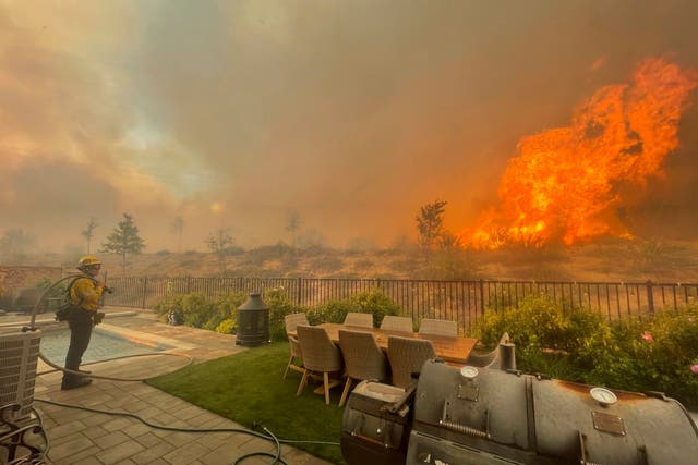<p>A firefighter prepares to battle the North Fire from a backyard on Via Patina, in Santa Clarita, California earlier this year</p>