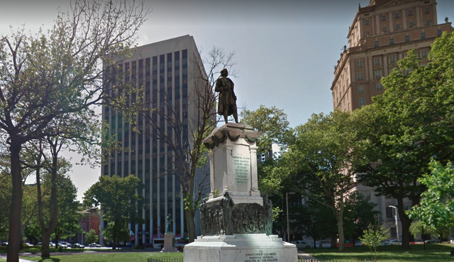 <p>Statue of Christopher Columbus in Washington Park, Newark, New Jersey, before it was removed in June 2020</p>