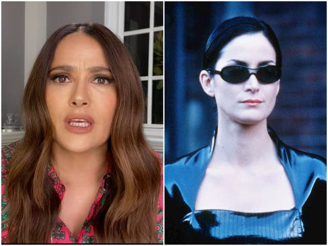 <p>Salma Hayek on 'Red Table Talk' and Carrie-Anne Moss in 'The Matrix'</p>
