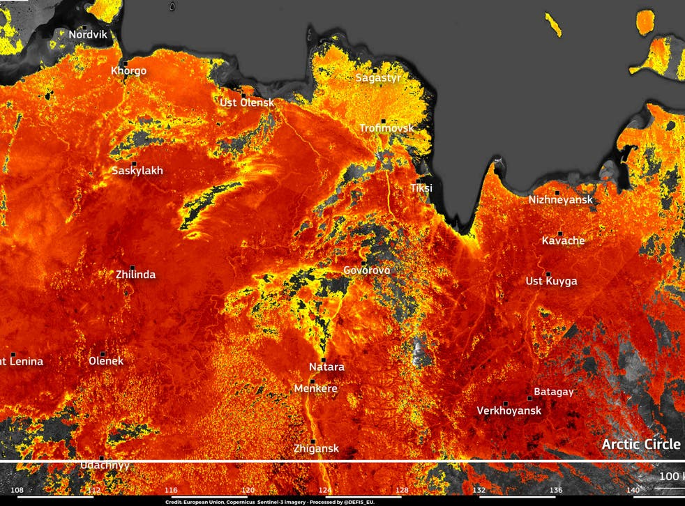 <p>Image taken by the EU's Copernicus Sentinel-3 satellite shows land surface temperatures reaching nearly 50C around the town of Verkhojansk</p>