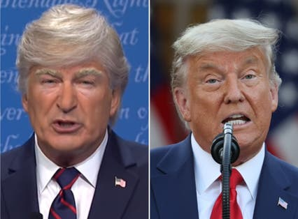<p>(Left) Alec Baldwin was on the receiving end of a Trump tirade (Right)</p>