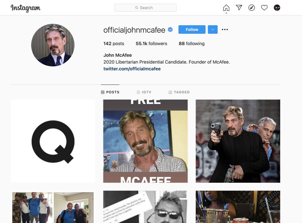 <p>A picture of the letter Q –perhaps alluding to the QAnon conspiracy theory –appeared on John McAfee's Instagram shortly after his death was announced</p>