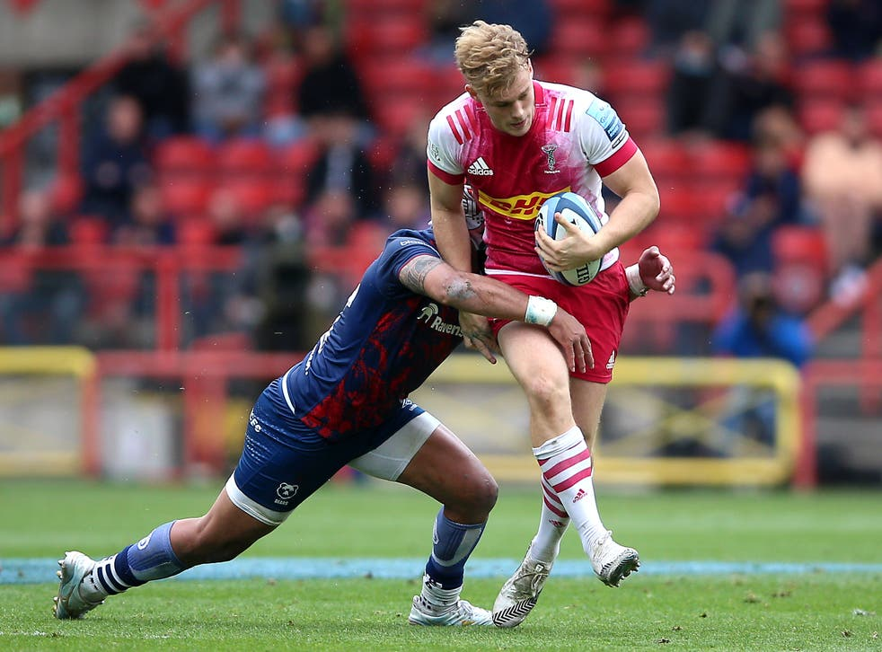 <p>Louis Lynagh in action for Harlequins</p>