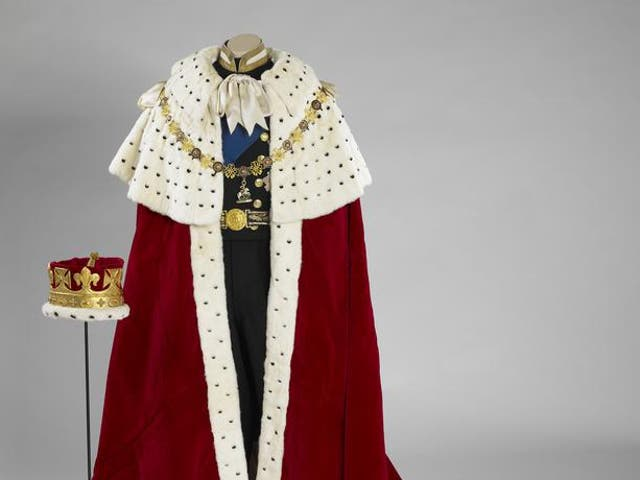 <p>The coronation robe and coronet worn by Prince Philip during the queen's coronation </p>