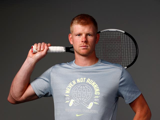 <p>Kyle Edmund poses ahead of the Battle of the Brits in 2020</p>