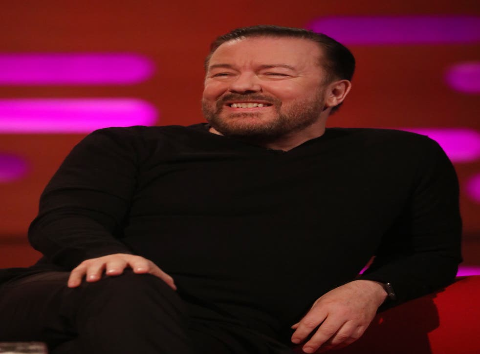Ricky Gervais during filming for the Graham Norton Show