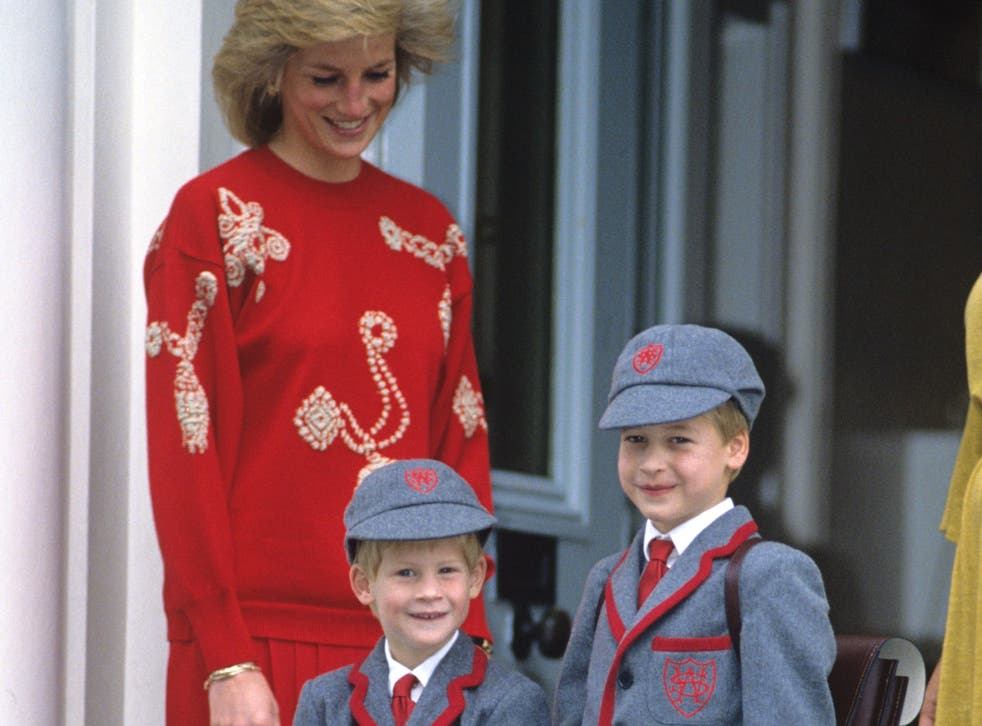 <p>Princess Diana with Princes William and Harry at School</p>