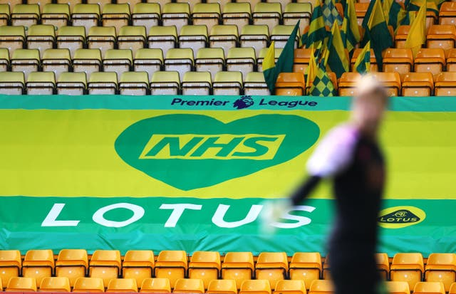 A general view of a NHS Lotus Premier League banner in the stands at Carrow Road
