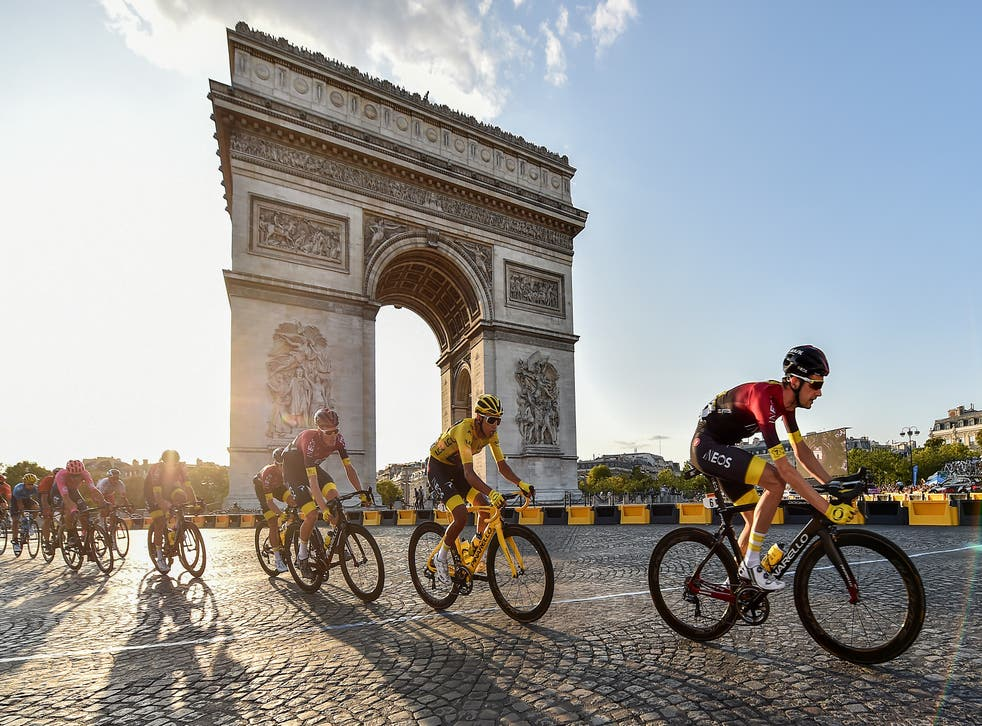 Team Ineos Egan Bernal cycles past the Arc De Triomphe during stage 21 of the Tour de France in 2019