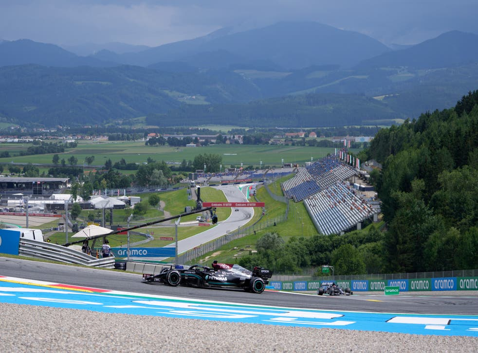 <p>Lewis Hamilton at he Red Bull Ring</p>
