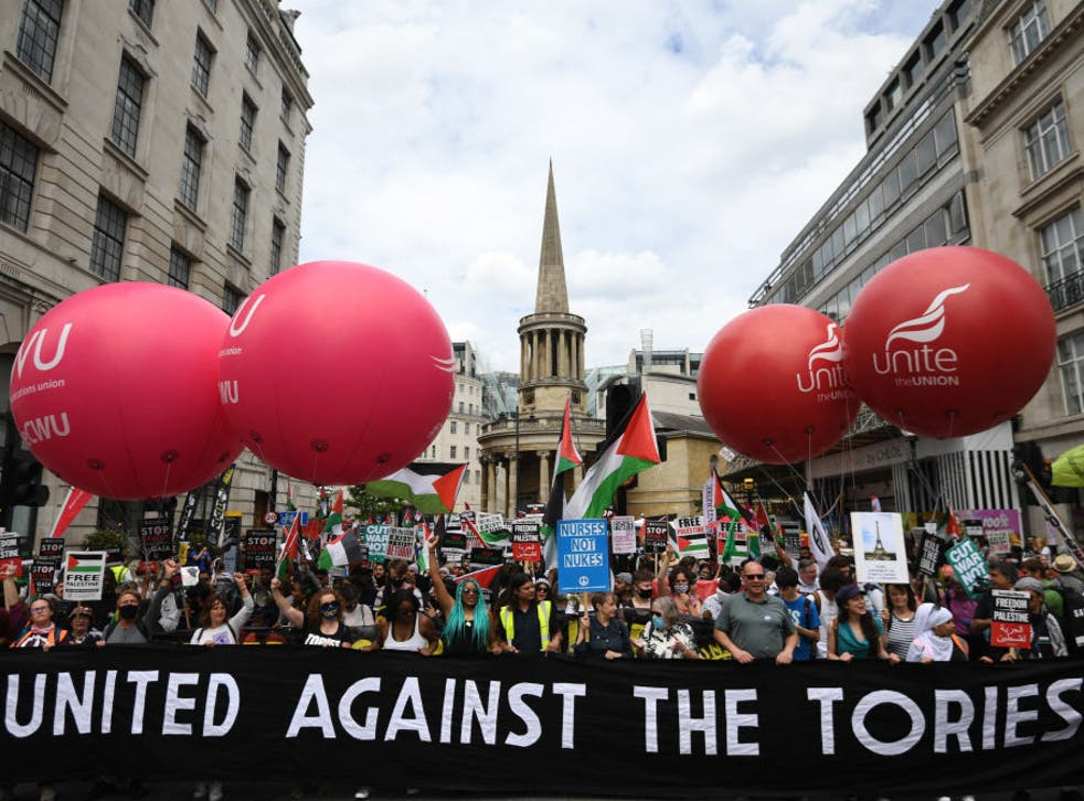 <p>The People's Assembly Against Austerity were protesting in Central London on Saturday 26 June</p>