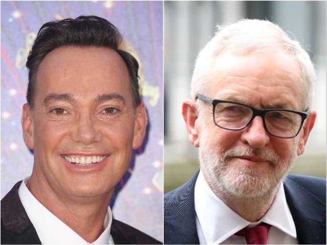 <p>Craig Revel Horwood (left) and Jeremy Corbyn (right)</p>