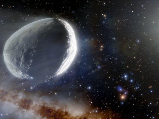 <p>Esta ilustración muestra el cometa distante Bernardinelli-Bernstein como podría verse en el Sistema Solar exterior.</p>