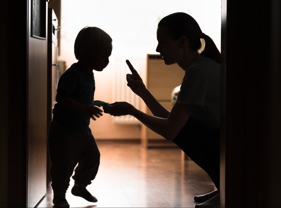 <p>Mother tells her child off</p>