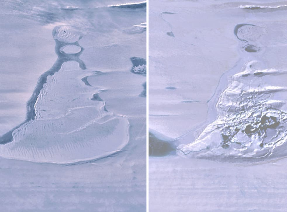 <p>Before and after images of the lake (L) and subsequent ice-strewn crater (R) captured a few days apart by NASA's ICESat-2 </p>