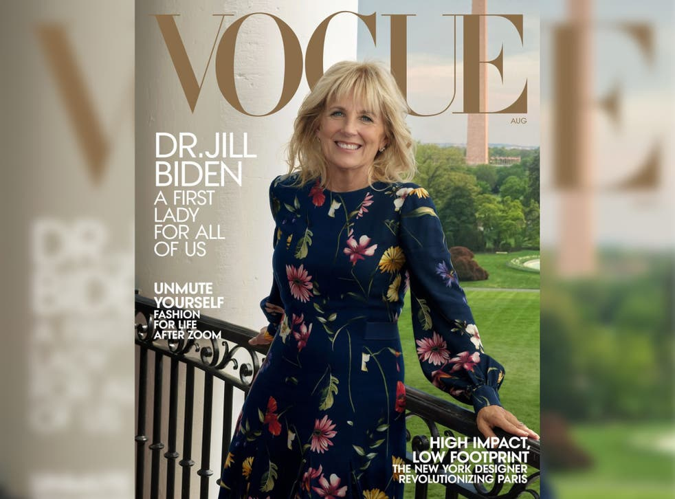 <p>Jill Biden on the cover of the upcoming August issue of Vogue magazine</p>