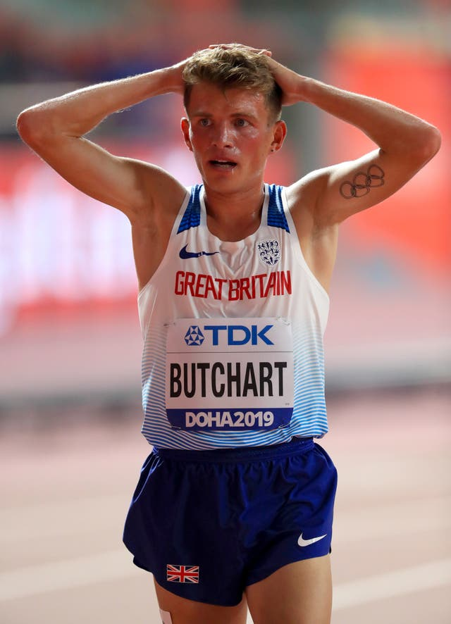 Andrew Butchart holds his head in his hands