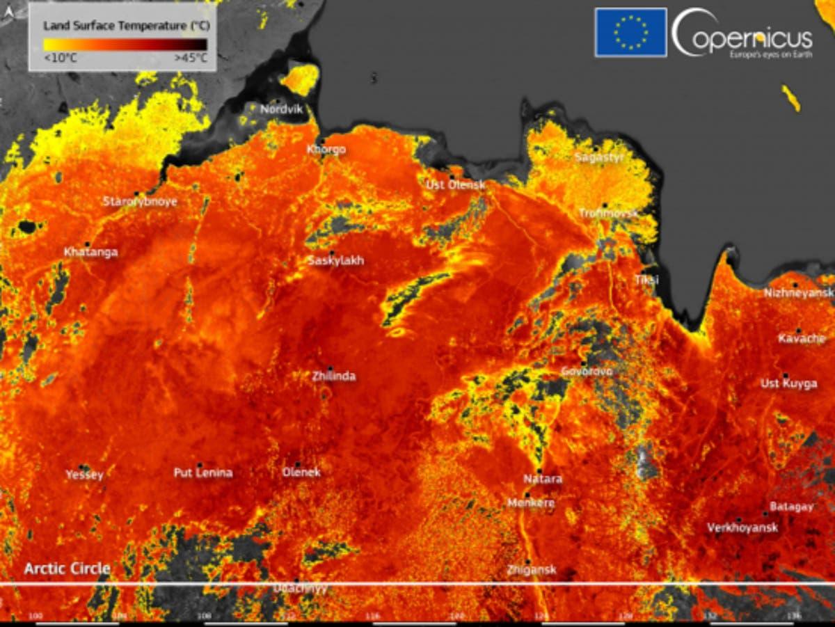 Arctic Circle land temperature reaches 48C during 'persistent heatwave' in Siberia