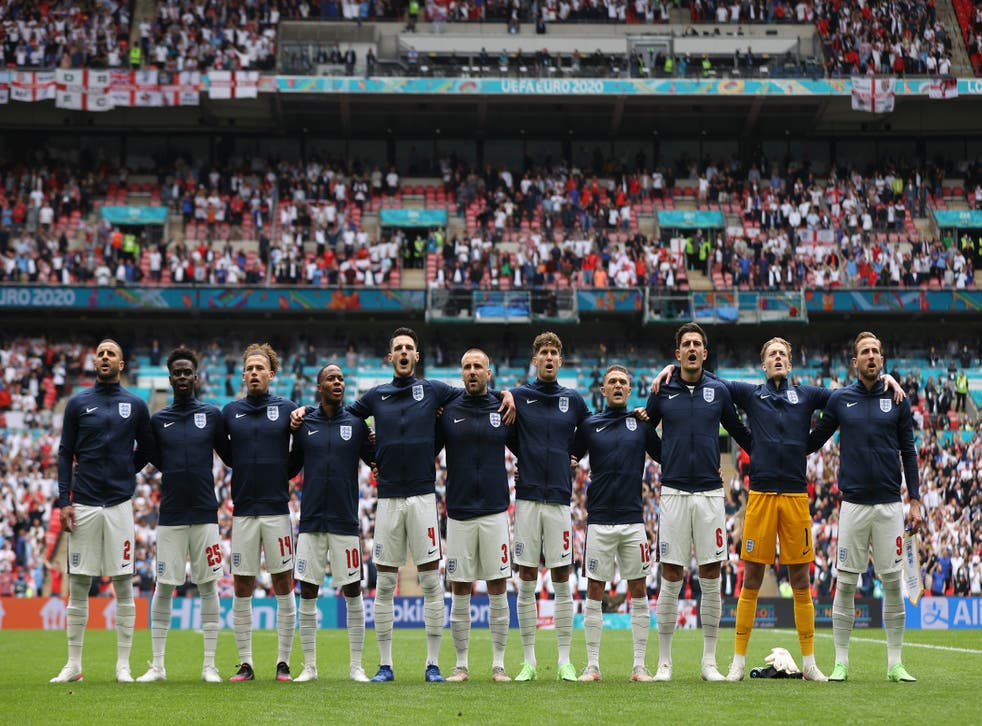 <p>Three Lions sing the national anthem prior to the win over Germany</p>