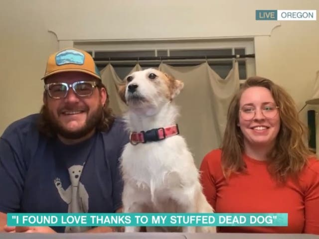 <p>Mitch Byers, his late dog Phoebe, and partner Jamie, as seen on 'This Morning'</p>